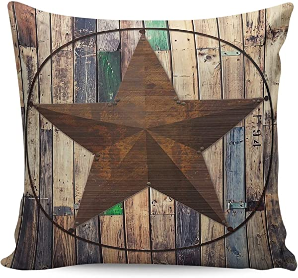 Square Throw Pillow Case Cotton Linen Pillow Cover Decorative Western Texas Star Cushion Covers For Home Couch Bed Sofa Car Cafe Movie Theater Two Sides 20x20in