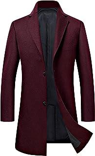 Men's Trench Coat Wool Blend Slim Fit Jacket Single Breasted Business Top Coat FSSSTF