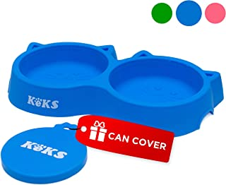 Cat Bowls - Cat Food Set of Silicone Cat Feeder Stand & Pets Food Can Cover - Cat Food Bowl Set - Cat Dish Set - Kitten Food Bowl - Cat Feeding Bowls - Cat Water Bowl