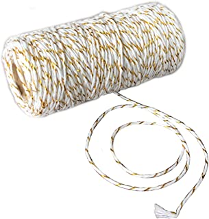 BakersTwine110YardCottonString2PlyCraftTwineforPackingGardeningandWrappingGifts 1 Roll (Gold + White)