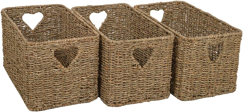 Set of 3 Large Burford Natural Seagrass Rattan Storage Baskets 3 x W27 x D46 x H25cm Baskets