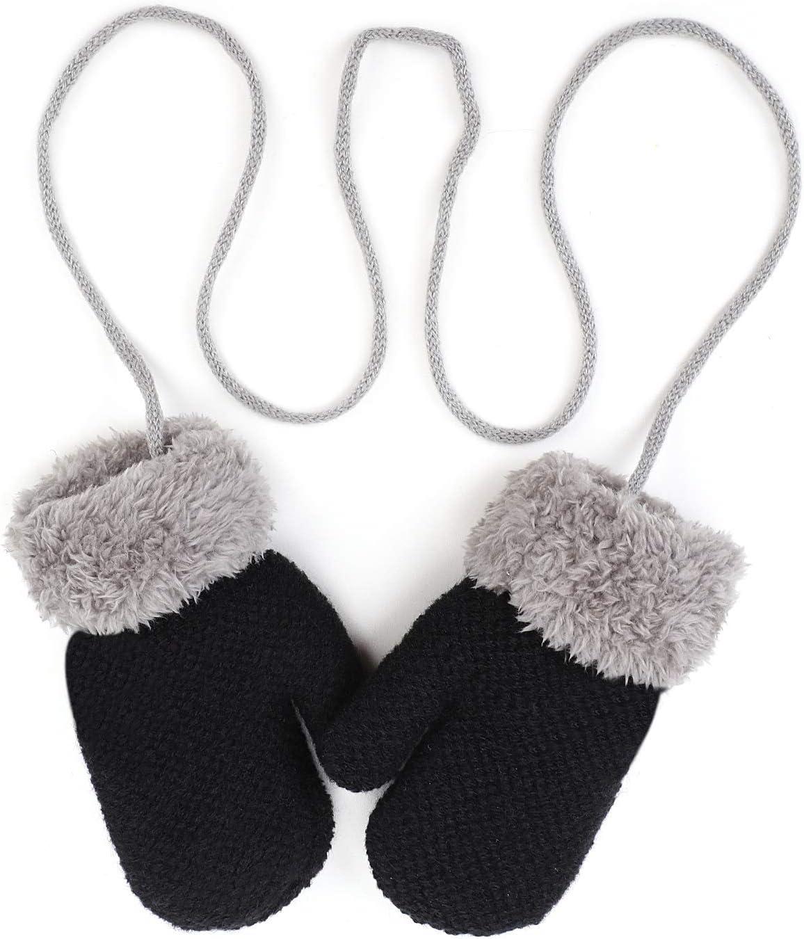 B/éb/é Moufles 1-3Ans Gants Bambin Hiver Epais Gants Tricot/é Chaud Polaire Doublure Gants Gar/çons Filles Gants de Ski Doux Confortable Mitaines /à Accrocher au Cou Gloves de No/ël Voyage