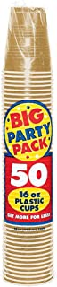 Amscan Big Party Pack 50 Count Plastic Cups, 16-Ounce, Gold