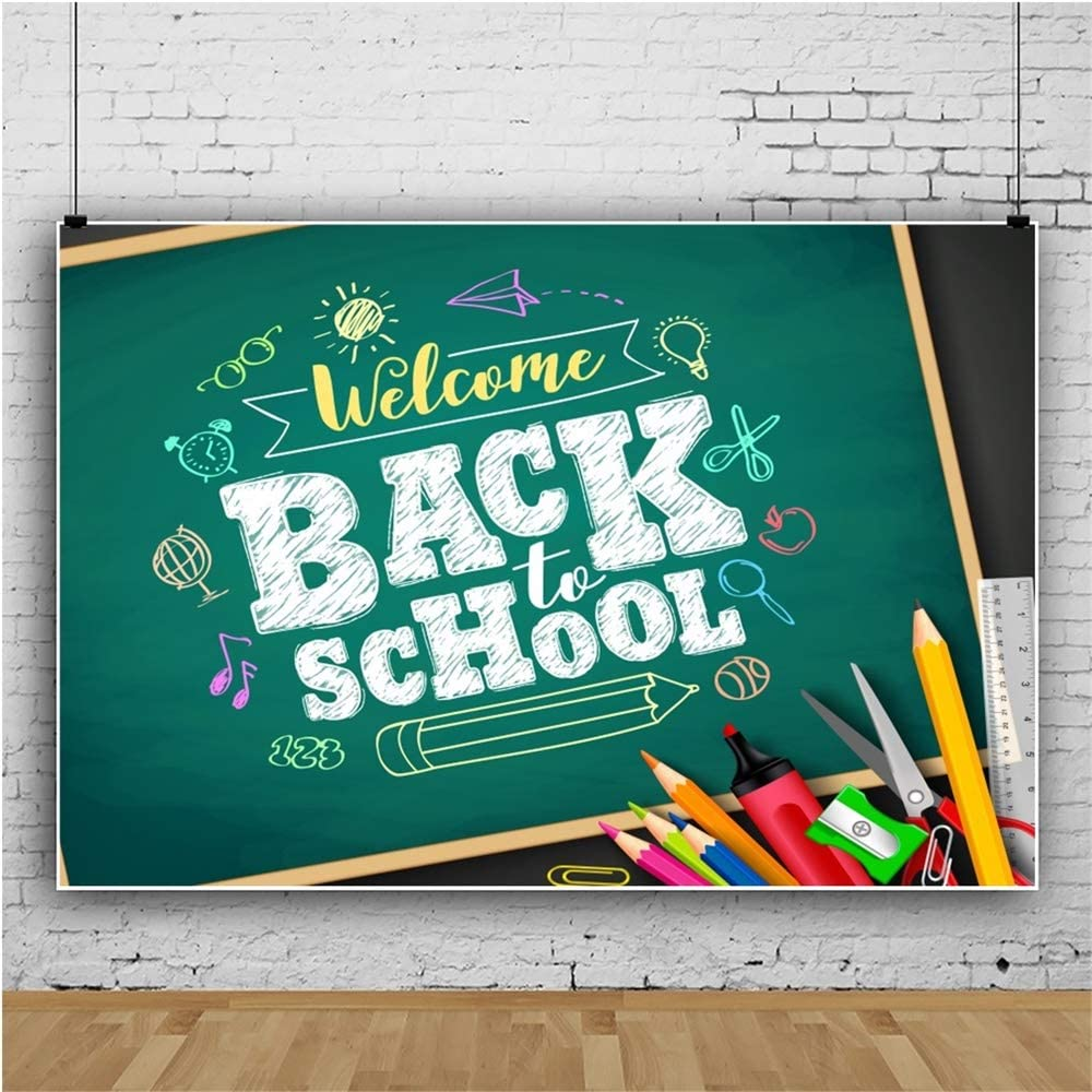 Renaiss 10x6.5ft Back to School Backdrop Blackboard Chalk Drawing Welcome Back to School Stationery Photography Background First Day of School Online Teaching Teacher Portrait Photo Studio Props