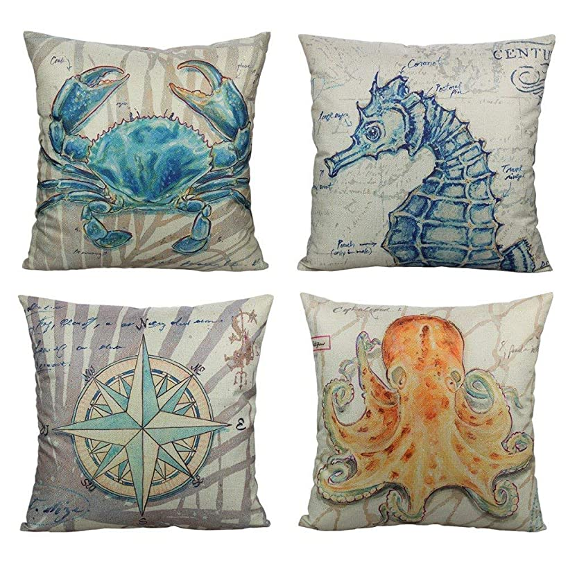 All Smiles Beach Coastal Throw Pillow Covers Cases Outdoor Nautical Décor Ocean Sea Theme Decorative Cushion 18X18 Set of 4 Marine Animals for Couch Patio Sofa Bed,Crab Seahorse Compass Octopus