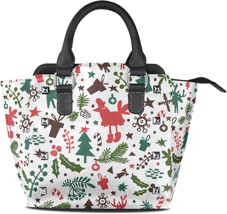 My Little Nest Women's Top Handle Satchel Handbag Stylish New Year Symbol Christmas Tree Rooster Gifts Ladies PU Leather Shoulder Bag Crossbody Bag