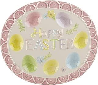 Happy Easter Pastel Pink Flower Design 12 x 10.5 Inch Ceramic Deviled Egg Serving Platter Dish