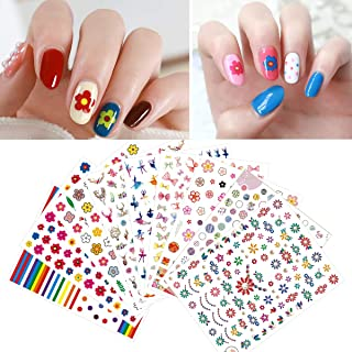 1000pcs Flower Nail Decals 3d Sticker (12 styles), Self-Adhesive Rainbow Nail Art Tattoos For Daily Manicure Pedicure, Birthday Holiday Gift for Women Kids
