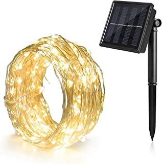 Solar Fairy Lights Outdoor Waterproof 72ft 200 LED Solar Wire Copper String Fairy Lights for Patio Yard Trees, Garden, Lawn, Homes Party, Wedding (Warm White 1pack)