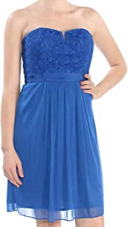 Adrianna Papell Women Lace Tulle Strapless Sheath Dress Blues