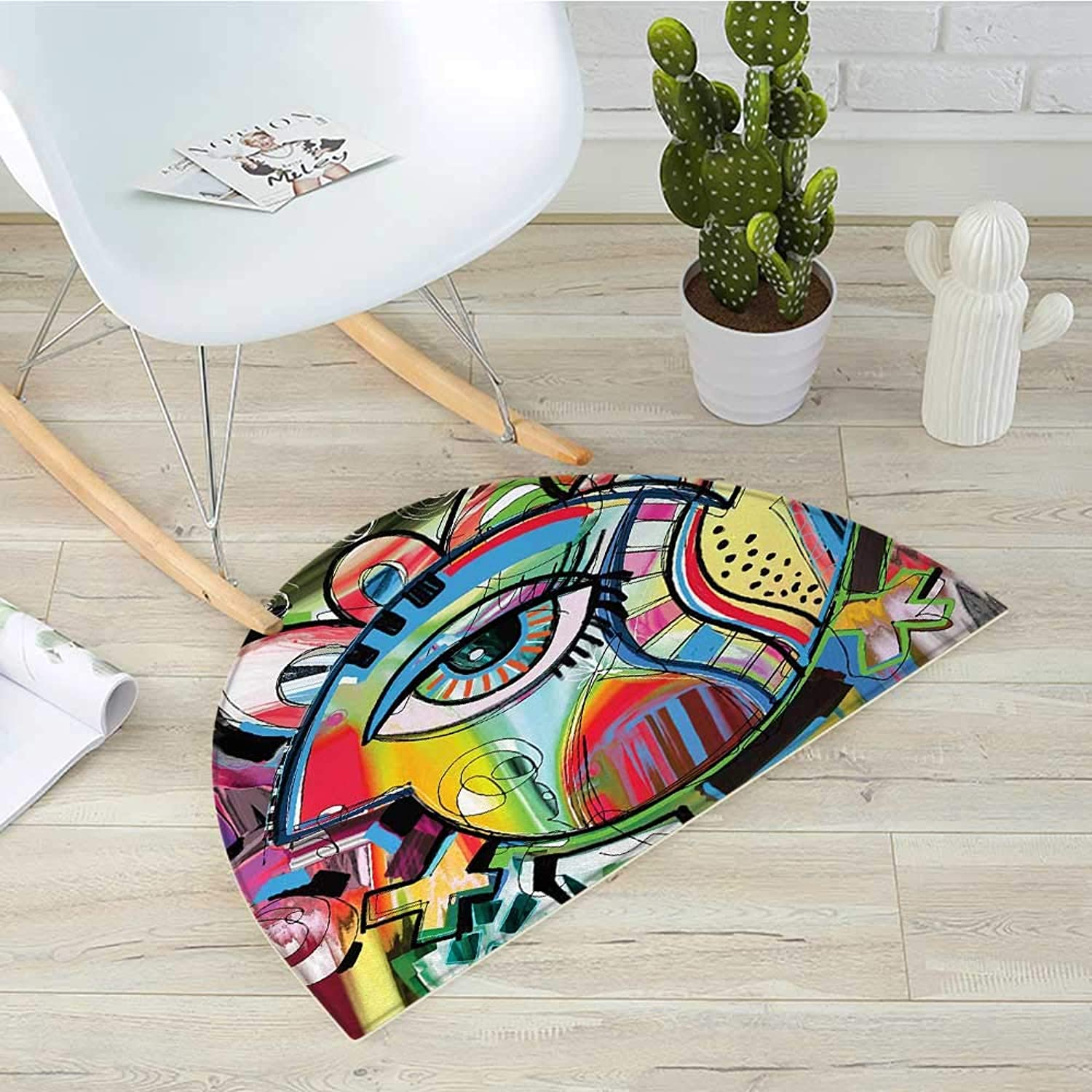 Contemporary Semicircular CushionLively colord Hand Drawn Style Artwork Abstract Composition with an Eye Motif Entry Door Mat H 19.7  xD 31.5  Multicolor