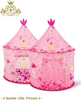 Bestmart INC Children's Play Tent Tunnels Princess Castle Play Tent Small Outdoor House Play Hut Pink Girl's Birthday Gift Ball Pit Toss Game, Premium Quality/Safety Certified as per ASTM