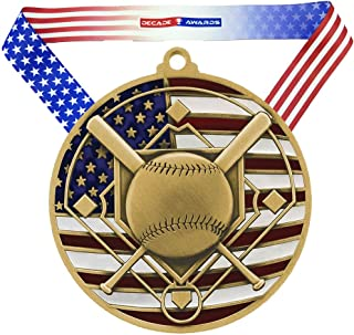 Decade Awards Baseball Patriotic Engraved Medal - 2.75 Inch Wide Baseball Medallion with Stars and Stripes American Flag V...