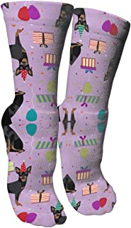 靴下 抗菌防臭 ソックス ミニチュアドーベルマンピンシャースポーツスポーツソックス、旅行&フライトソックス、塗装アートファニーソックス30 cmロングソックス
