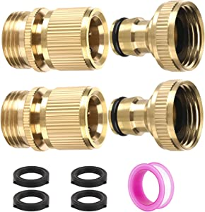 Polma Garden Hose Quick Connectors, 3/4 Inch GHT Thread Solid Brass Quick Connect Garden Hose Fittings Water Hose Connectors Male and Female (2SETS)