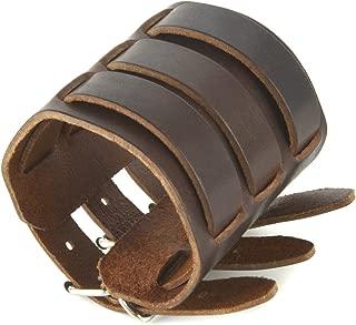 Mens Genuine Leather Wide Triple Strap Cuff Wrap Gauntlet Wristband Buckle Fastening Arm Armor Cuff