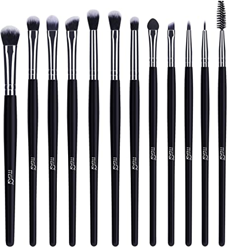 MSQ Eye Makeup Brushes 12pcs Eyeshadow Makeup Brushes Set with Soft Synthetic Hairs & Real Longer Wood Handle for Eye...