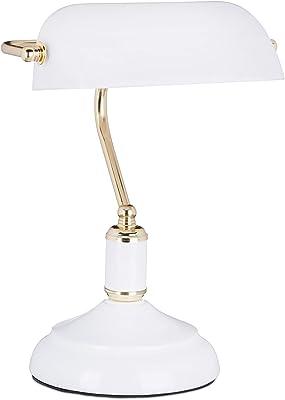 Bankerlampe weiß im Vintage Look Tischlampe Bankerlampe Schreibtischlampe Stil