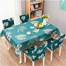 GUOCU Mantel Impermeable Antimanchas Algodón Lino Rectangular Decorativo Mantel de Mesa para Cocina Comedor Fiesta Mantel Silla Juego de Tela Hoja Dos Fundas para sillas