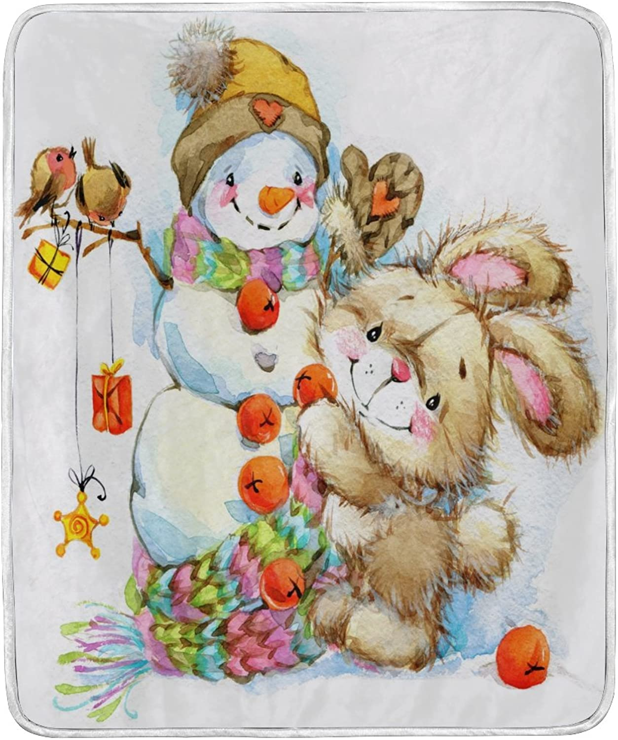 ALAZA Home Decor Watercolor Christmas Snowman Bunny Rabbit Soft Warm Blanket for Bed Couch Sofa Lightweight Travelling Camping 60 x 50 inch Throw Size for Kids Boys Girls