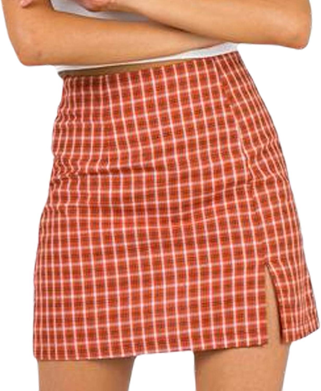 Women's Plaid Skirt High WaistA-Line Tennis Bodycon Split Front Zip Up Pencil Mini Skirt
