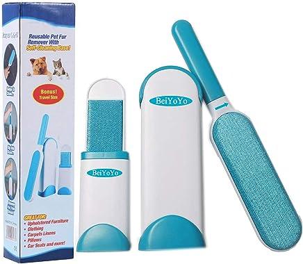 BeiYoYo Removedor de Pelo de Mascotas, Reutilizable Cepillo Limpiador Quita Pelos de Perro Gato Mascotas Pelusas para Ropa con el Asistente + Auto-Limpieza Base 3PCS