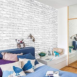 Indian Royals Modern White Brick Wall Environmental Protection PVC Adhesive Back Glue Wallpaper (200X45 cm)