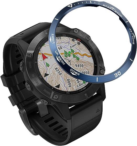 Topsic Fenix 6 Watch Lünette Ring Polierter Edelstahl Abdeckklebstoff Anti Kratzschutz Lünettenring Für Fenix 6 Pro Fenix 6 Watch Sport Freizeit