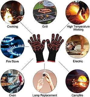 Silicona Antideslizante Guantes para Parrilla 1 Par Guantes de Cocina Oven Gloves Resistencia T/érmica hasta 800/°C Cocinar Guantes para Horno Microondas Rojo Hornear Vegena Guantes de Barbacoa