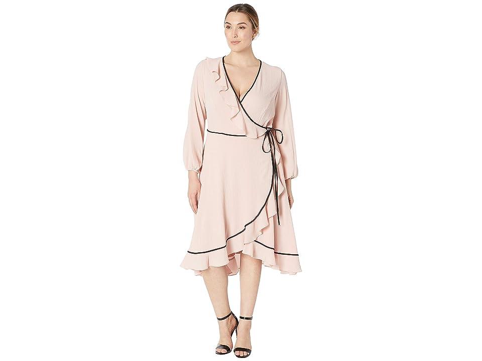 Adrianna Papell Plus Size Pebble Chiffon Wrap Dress (Lotus) Women