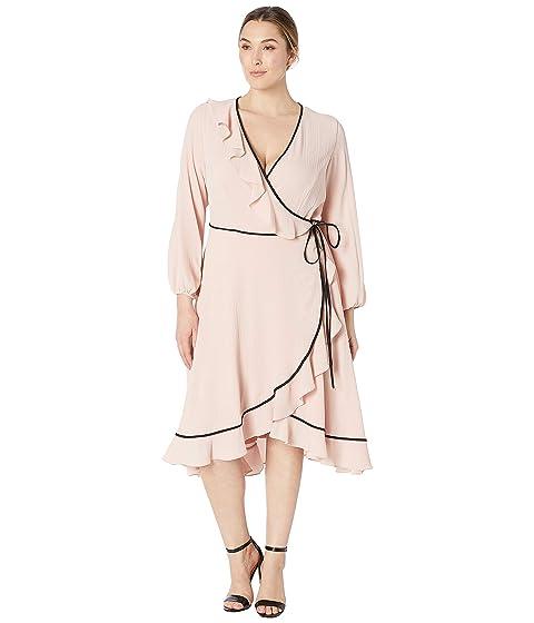 54c0fc4c44b Adrianna Papell Plus Size Pebble Chiffon Wrap Dress at Zappos.com