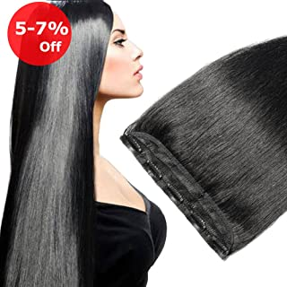 24 Inch 3/4 Full Head Clip in Hair Extensions Human Hair Dark Black 1# One Piece 5 clips Remy Clip on Long Staight Soft Hair for Women (24