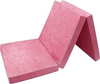 FORTISLINE - Colchón Auxiliar Plegable para Cama de Invitados (180 x 65 x 7 cm), Color Rosa