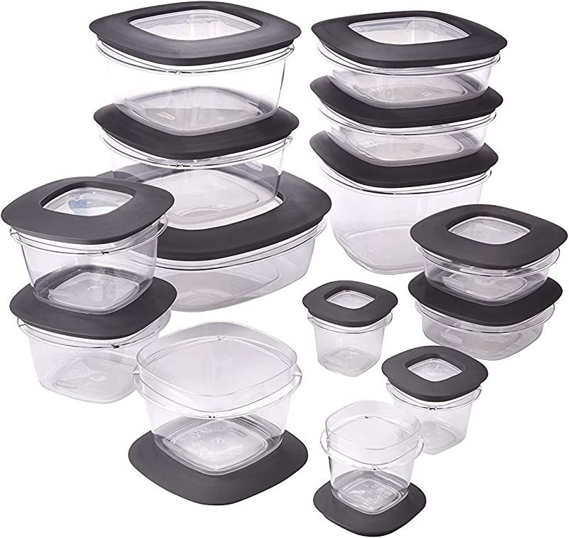 Rubbermaid 1951294 Premier Meal Prep Food Storage Containers 28 Piece Gray