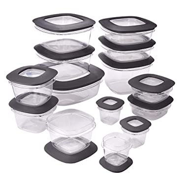 Rubbermaid Premier Easy Find Lids Meal Prep and Food Storage Containers, Set of 14 (28 Pieces Total), Grey |BPA-Free & Stain Resistant