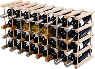 Giantex 40 Bottle Wine Rack Wine Bottle Display Shelves Wood Stackable Storage Stand Wobbly-Free Wine Bottle Holder Organizer for Home Kitchen, Bar, Wine Cellar, Basement, Free Standing Bottle Rack