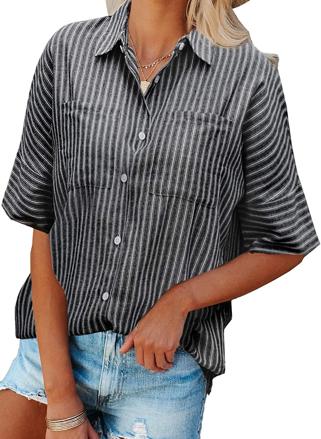 ROSKIKI Womens Short Sleeve V-Neck Casual Blouse Striped Button Down Pockets Shirt Tops (S-2XL)