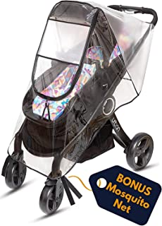Ritmart Baby Stroller Rain Cover Universal + Mosquito Net (2-Piece Set), Waterproof, Windproof & Ventilation, Premium Travel Weather Shield Accessories