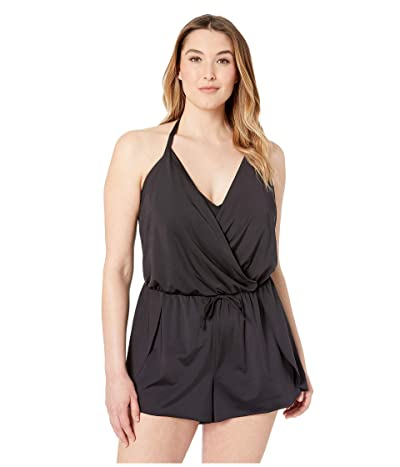 Kenneth Cole Plus Size Ruffle-Licious Romper Cover-Up (Black) Women