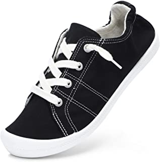 STQ Womens Classic Slip On Fashion Sneakers, Comfort Canvas Casual Shoes Black/7.5 US