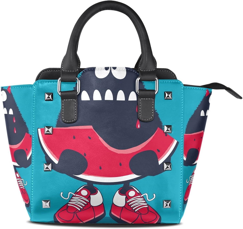 My Little Nest Women's Top Handle Satchel Handbag Cute Monster Eat Watermelon Ladies PU Leather Shoulder Bag Crossbody Bag
