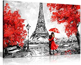 Paris Oil Painting Reproduction Eiffel Tower Red Umbrella Canvas Wall Art Picture Print (24x16)