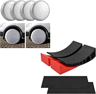 Kohree 2 Packs Camper Leveler, RV Leveling Blocks Chock Kit, Bundle with Tire Covers for RV Wheel Covers Motorhome Tires S...