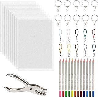 43 en 1 Kit de Feuilles Plastiques 10Pcs + 12 Crayons de Couleur + 1 Perforateur de Papier + 10 Porte-Clés + 10 Sangles La...