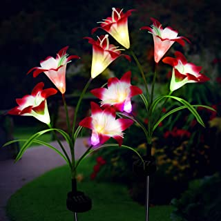 Outdoor Solar Garden Flower Lights, 2 Pack Artificial Lily LED Stake Lights Waterproof Solar Powered Decorative Lighting f...
