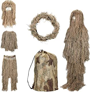 SHINYEVER 5 in 1 Ghillie Suit – 3D Camouflage Hunting Apparel Including Jacket, Pants, Hood, Rifle Wrap, Carry Bag Suitabl...