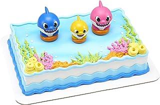 DecoSet® Baby Shark Cake Topper ، مجموعة من 3 قطع مع أمي وأبي وصغير واحد ، زينة رائعة مع تماثيل قابلة للتحصيل