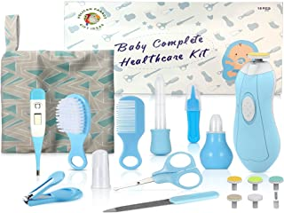 PelicanParrot, 18 PCs. Baby Essentials for Newborn, Baby Healthcare and Grooming Kit, Baby Medicine Dispenser, Baby Care Kit, Newborn Nursery Care Kit, Electric Nail Trimmers (Blue)