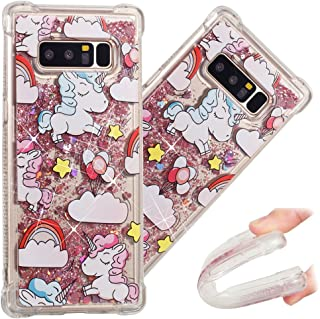 Note 8 Case, 3D Cute Painted Glitter Liquid Sparkle Floating Luxury Bling Quicksand Shockproof Protective Bumper Silicone Case Cover for Samsung Galaxy Note 8 (2017). Liquid - Rainbow Unicorn