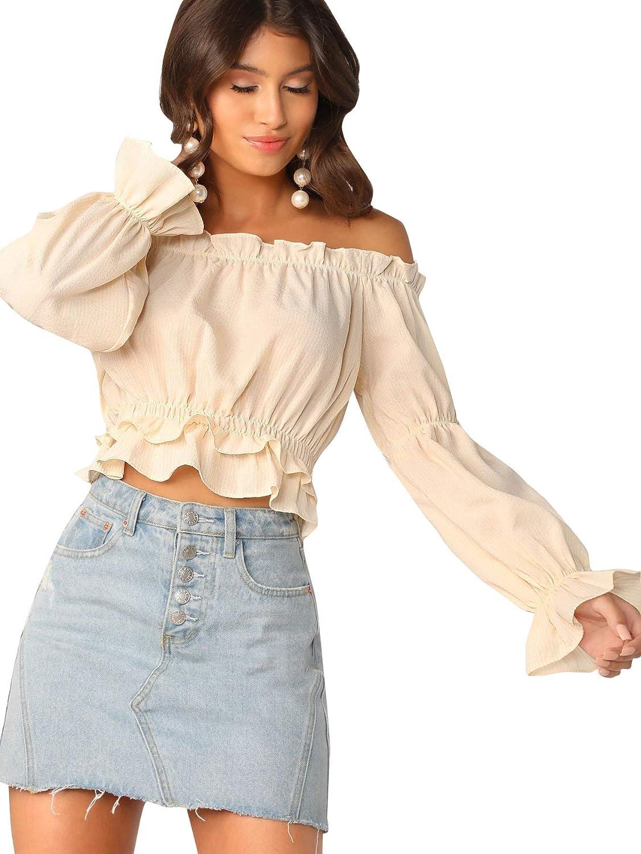 SheIn Women's Sexy Striped Off Shoulder Long Sleeve Shirt Ruffle Trim Blouses Top
